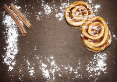 Sweet rolls on wooden table Stock Photos