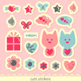Sweet romantic stickers. A set of sweet romantic stickers Stock Images