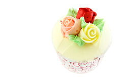 Sweet rose flower cup cake Royalty Free Stock Photos