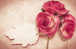 Sweet roses and leaf note on mulberry paper Stock Images