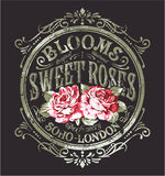Sweet Roses perfume. Vintage vector print for woman wear grunge effect in separate layer vector illustration