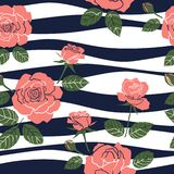 Sweet roses seamless pattern on wavy background,for fashion,fabric,textile,print or wallpaper royalty free stock images