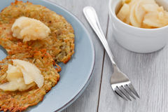 Sweet Rosti with Apple Compote Royalty Free Stock Photos