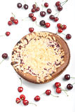 Sweet round baked cake with cherry Stock Photos
