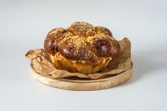 Sweet round challah bread , royalty free stock images