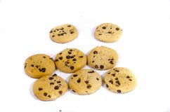 Sweet round chocolate chip cookie`s. A cookie is a baked or cooked food that is small, flat and sweet. It usually contains flour, sugar and some type of oil or Royalty Free Stock Photography