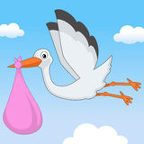 Sweet It's a Girl Stork Flying in the Sky Royalty Free Stock Images