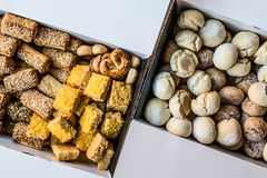 Sweet and Salty Turkish pastries in box. Bakery concept Royalty Free Stock Photos