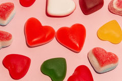 Sweet San Valentine. Two sweet candy hearts between others Stock Photo