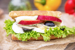 Sweet Sandwich. Sandwich with apple blue cheese grapes and honey Stock Photos