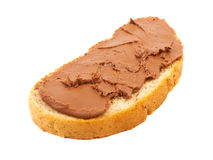 Sweet sandwich with chocolate oil isolated on a white background.  Royalty Free Stock Photo