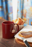 Sweet Sandwich With Cup Of Tea Royalty Free Stock Photography