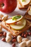 Sweet sandwich with peanut butter and apple close up Royalty Free Stock Image