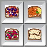 Sweet sandwiches with berries and fruit. Sweet sandwiches with berries, fruit, nuts, cereal and chocolate Royalty Free Stock Image