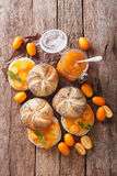 Sweet sandwiches with homemade kumquat jam close-up. vertical to Royalty Free Stock Images
