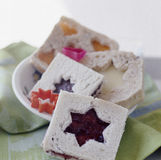Sweet sandwiches with star decorations Royalty Free Stock Photo