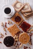 Sweet Sandwiches With Jelly, Peanut Butter And Coffee Top View Stock Image