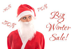 Sweet Santa Girl looking to Text Big winter sale, isolated on wh Royalty Free Stock Image