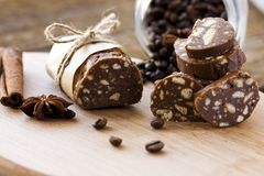 Sweet sausage. Dessert of cookies, chocolate, coffee and condensed milk Royalty Free Stock Photography