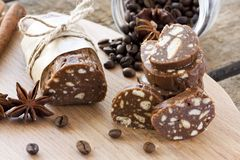 Sweet sausage. Dessert of cookies, chocolate, coffee and condensed milk Stock Images