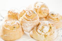 Sweet Savoury buns with white icing Stock Photography