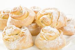 Sweet Savoury buns with white icing Stock Images