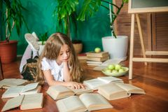 A sweet schoolgirl of junior classes with long blond hair with books, a school board and apples stock photography