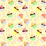 Sweet seamless background with cupcakes. Light Stock Image