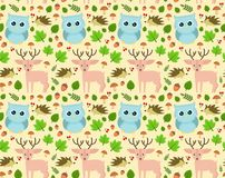 Sweet seamless forest pattern design. Vector flat cartoon illustration. isolated on beige background. owl, deer, hedgehog, mushrooms, leaves, acorns. children Stock Photography