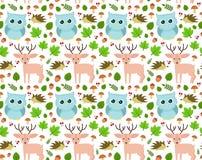 Sweet seamless forest pattern design. Vector flat cartoon illustration. isolated on white background. owl, deer, hedgehog, mushrooms, leaves, acorns. children Stock Photos