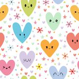 Sweet seamless pattern with colored smiley hearts. Romantic print. Cute background. Sweet seamless pattern with colored kawaii hearts. Romantic print. Cute vector illustration