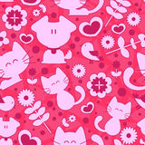 Sweet seamless pattern cute animals. And romantic elements Stock Image