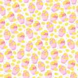 Sweet seamless pattern with desserts. Delicious background with cupcakes, macaroons and hearts. Sweet seamless pattern with desserts vector illustration