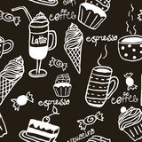 Sweet seamless pattern with drinks and sweets Stock Image
