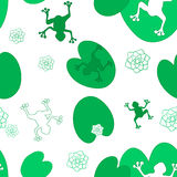 Sweet seamless pattern with frogs and dragonflies royalty free illustration