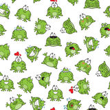 Sweet seamless pattern with frogs Royalty Free Stock Images
