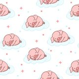 Sweet seamless pattern with sleeping baby pig cartoon illustration stock illustration