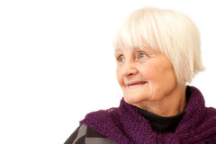 Sweet senior woman looking to the side Royalty Free Stock Photo