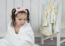 Toddler in white towel after bath royalty free stock photography