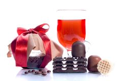 Sweet set. Marmalade, wine, chocolate, coffee beans stock photos