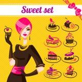 Sweet set, cakes icons Stock Photos