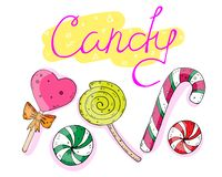 Sweet set of candies with the inscription. vector illustration. royalty free illustration
