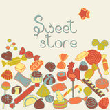 Sweet set. Set of colored sweet candies on a beige background Stock Photos
