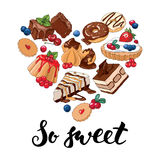 So sweet. Set of different sweets in the shape of heart. Vector illustration vector illustration