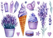 Sweet set, ice cream, cupcake, lavender flower and butterfly, watercolor illustration