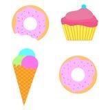 Sweet set ice-cream donut cupcake Stock Images