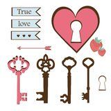Sweet set of keys, heart, lettering Stock Photo