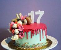 Sweet seventeen. Drip cake 17 Stock Photo