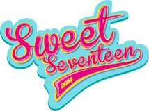 Sweet seventeen retro design Royalty Free Stock Photos