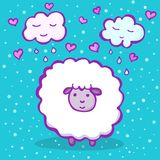 Sweet sheep on a blue background with clouds and hearts. Cute doodle sheep. Vector illustration for kids Stock Images